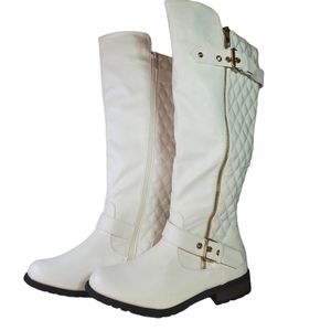 NEW White Leather Riding Boots